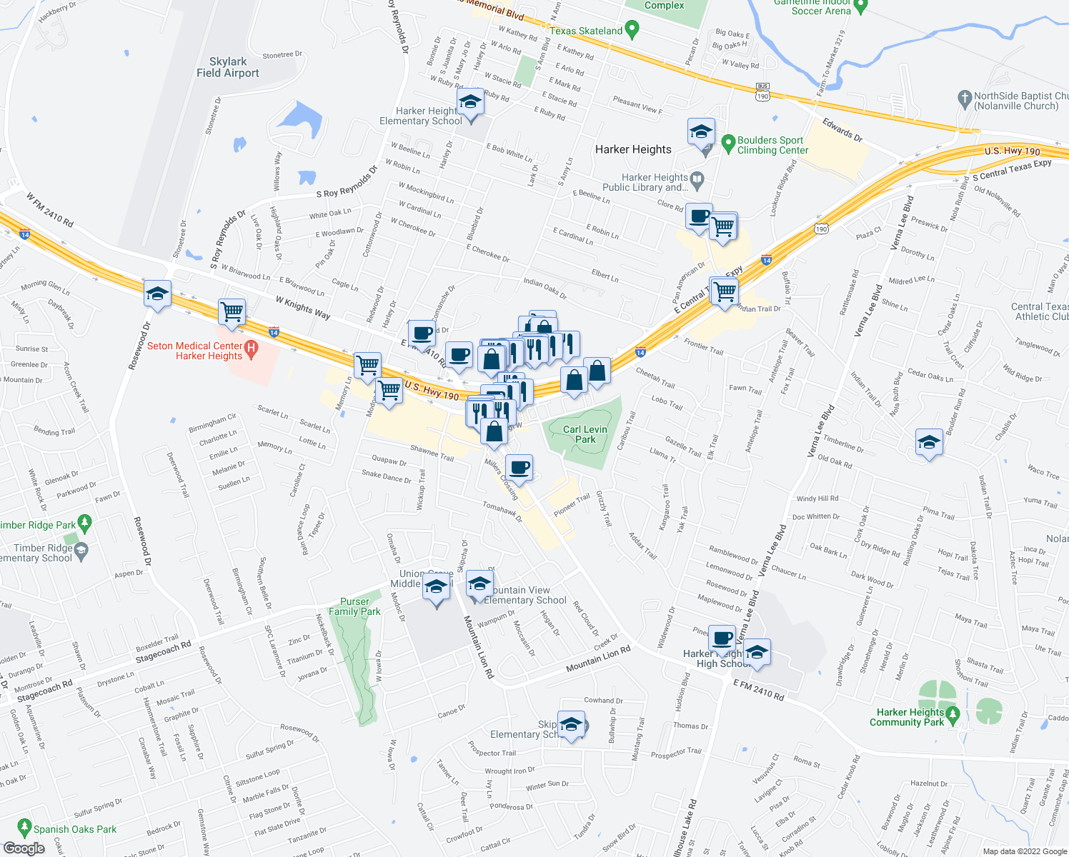 map of restaurants, bars, coffee shops, grocery stores, and more near 400 Millers Crossing in Harker Heights