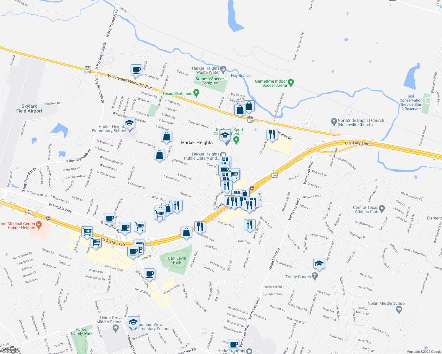 map of restaurants, bars, coffee shops, grocery stores, and more near 608 Indian Trail in Harker Heights