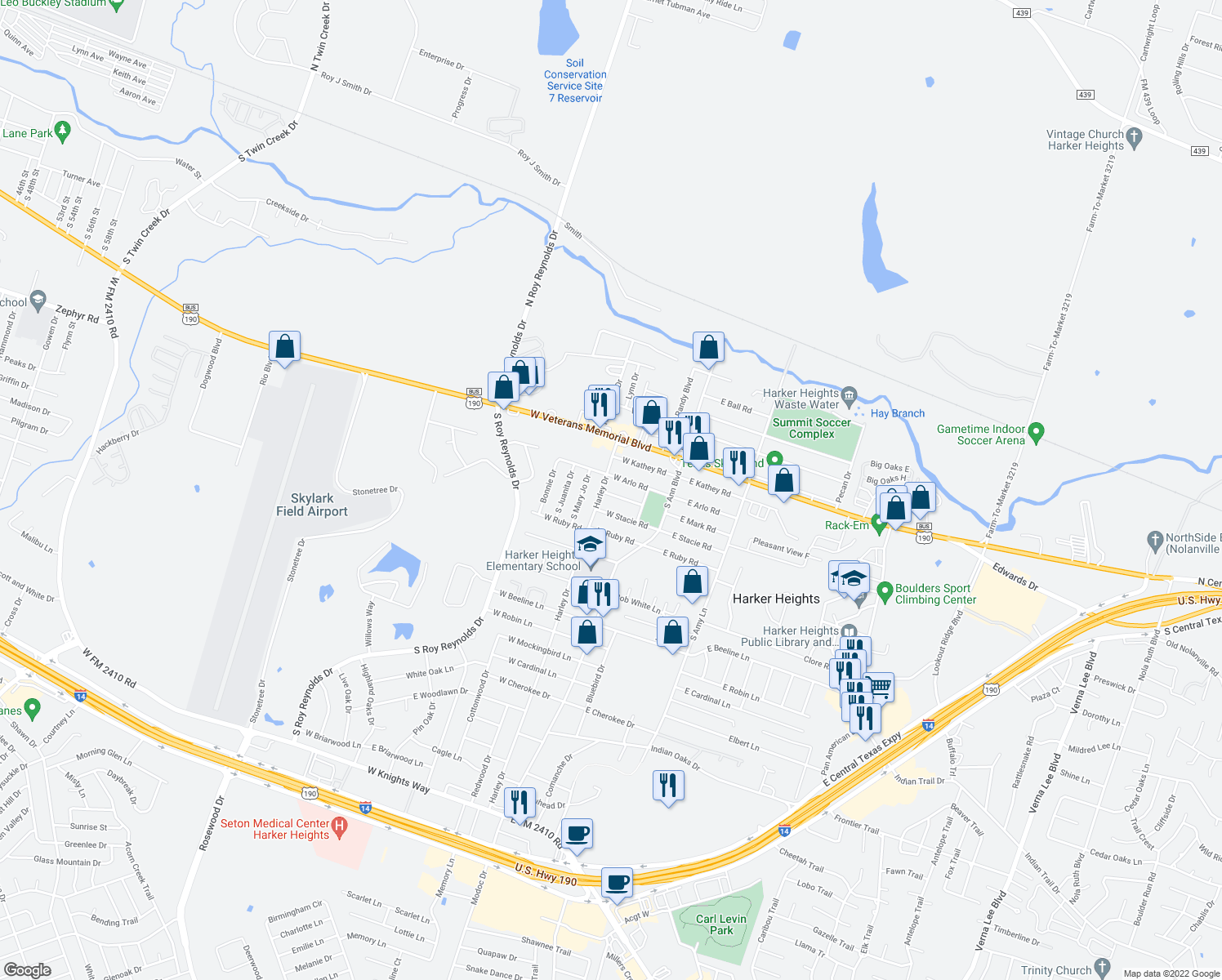 map of restaurants, bars, coffee shops, grocery stores, and more near 125 West Arlo Road in Harker Heights