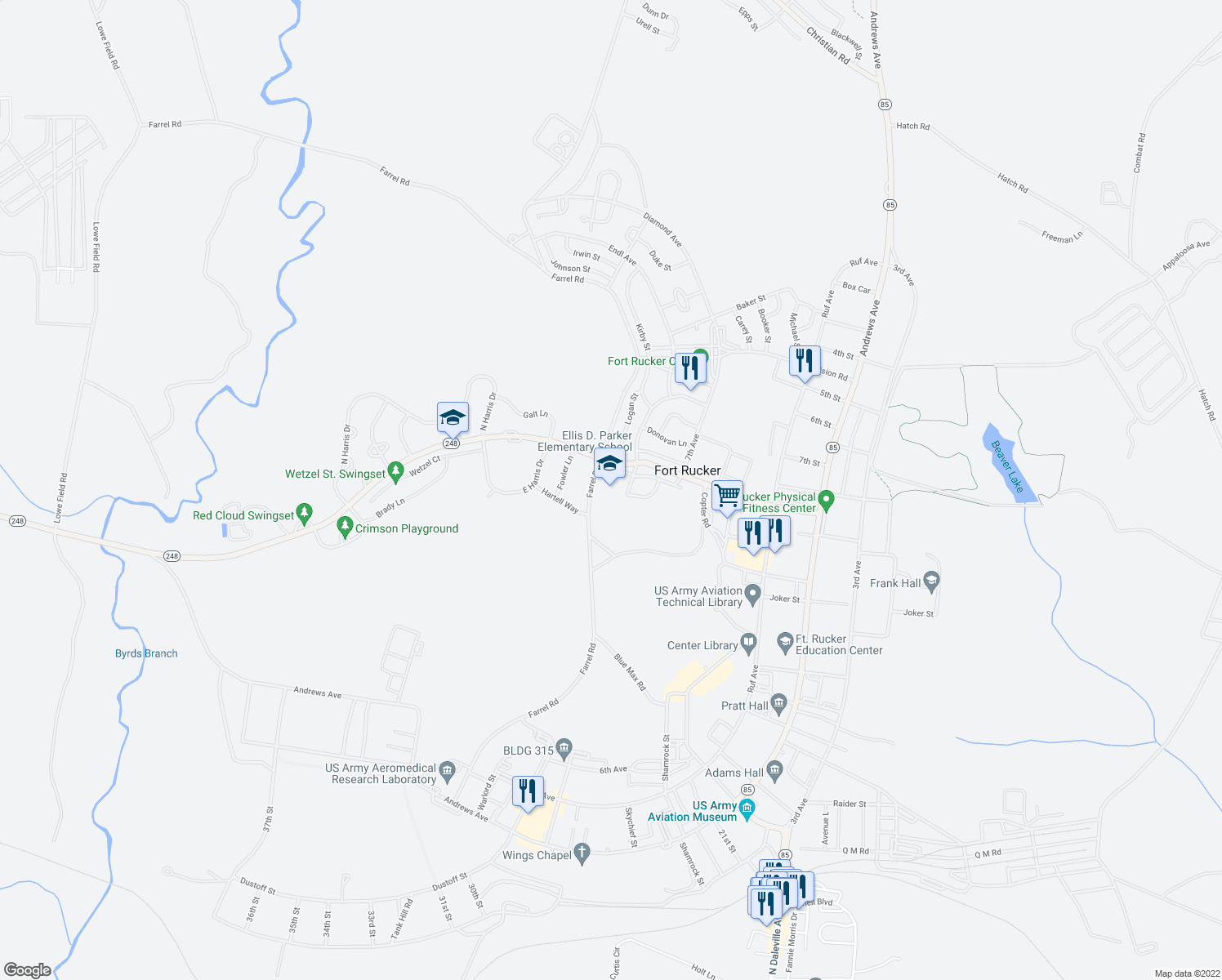 map of restaurants, bars, coffee shops, grocery stores, and more near Boyce Lane in Fort Rucker