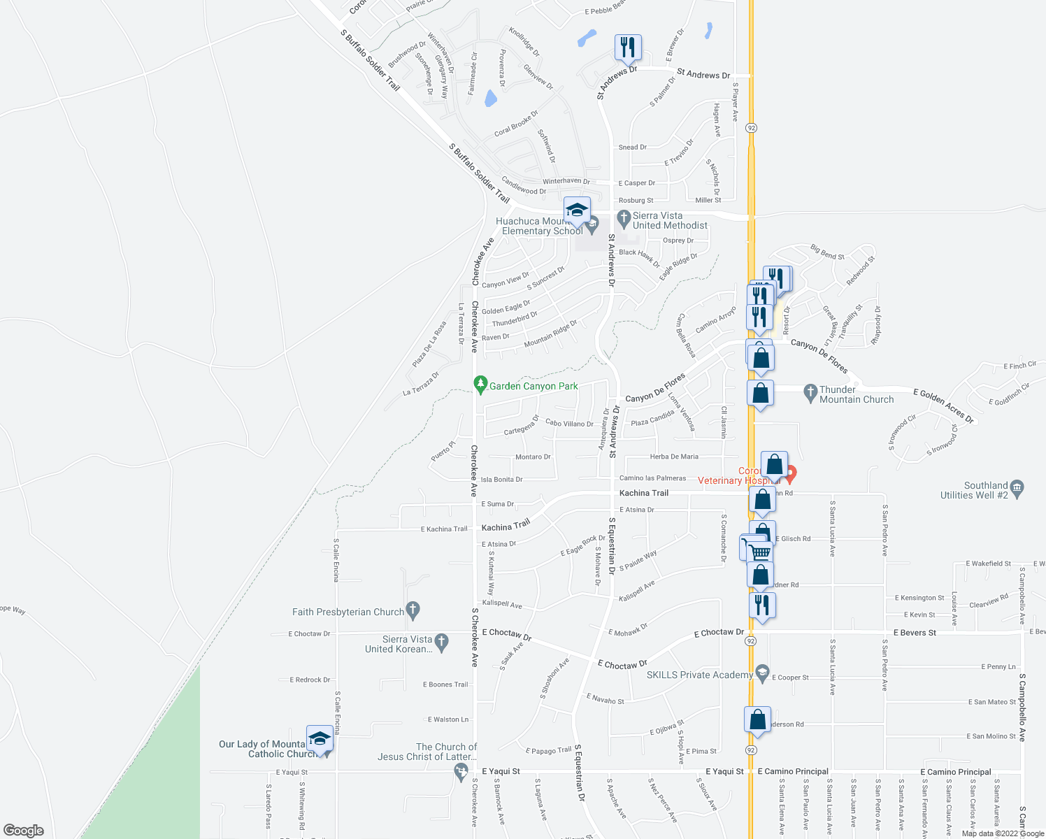 map of restaurants, bars, coffee shops, grocery stores, and more near 2668 Cabo Burela Dr in Sierra Vista