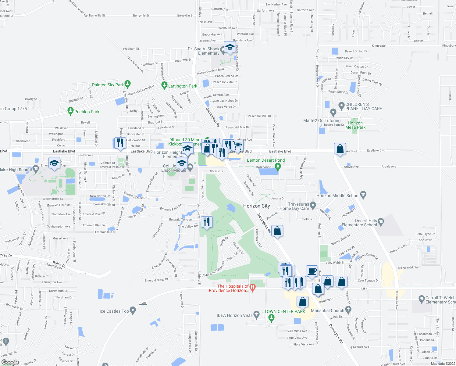map of restaurants, bars, coffee shops, grocery stores, and more near 3701 Talent Way in Horizon City