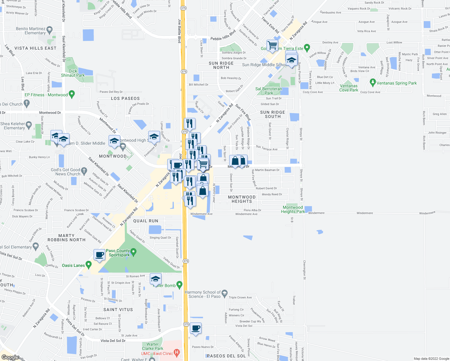map of restaurants, bars, coffee shops, grocery stores, and more near 12345 Carlos Bombach Avenue in El Paso