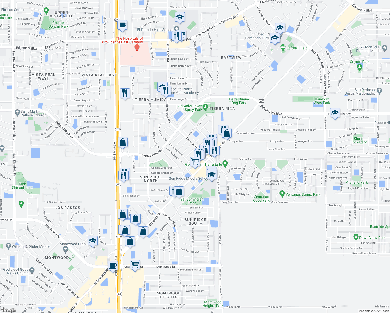 map of restaurants, bars, coffee shops, grocery stores, and more near 2226 Tierra Robles Drive in El Paso