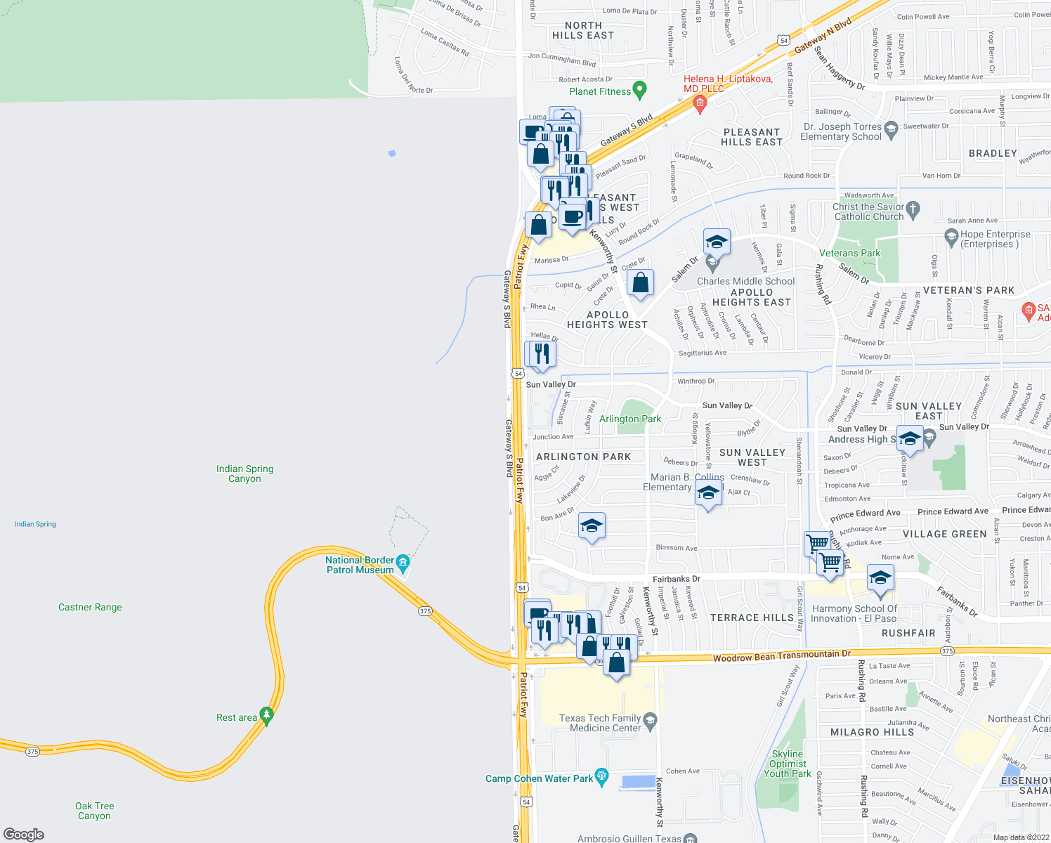 map of restaurants, bars, coffee shops, grocery stores, and more near Patriot Fwy in El Paso