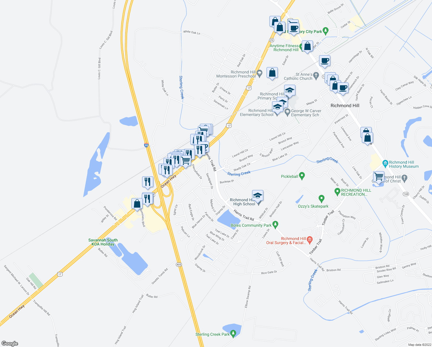 map of restaurants, bars, coffee shops, grocery stores, and more near Harris Trail Road in Richmond Hill