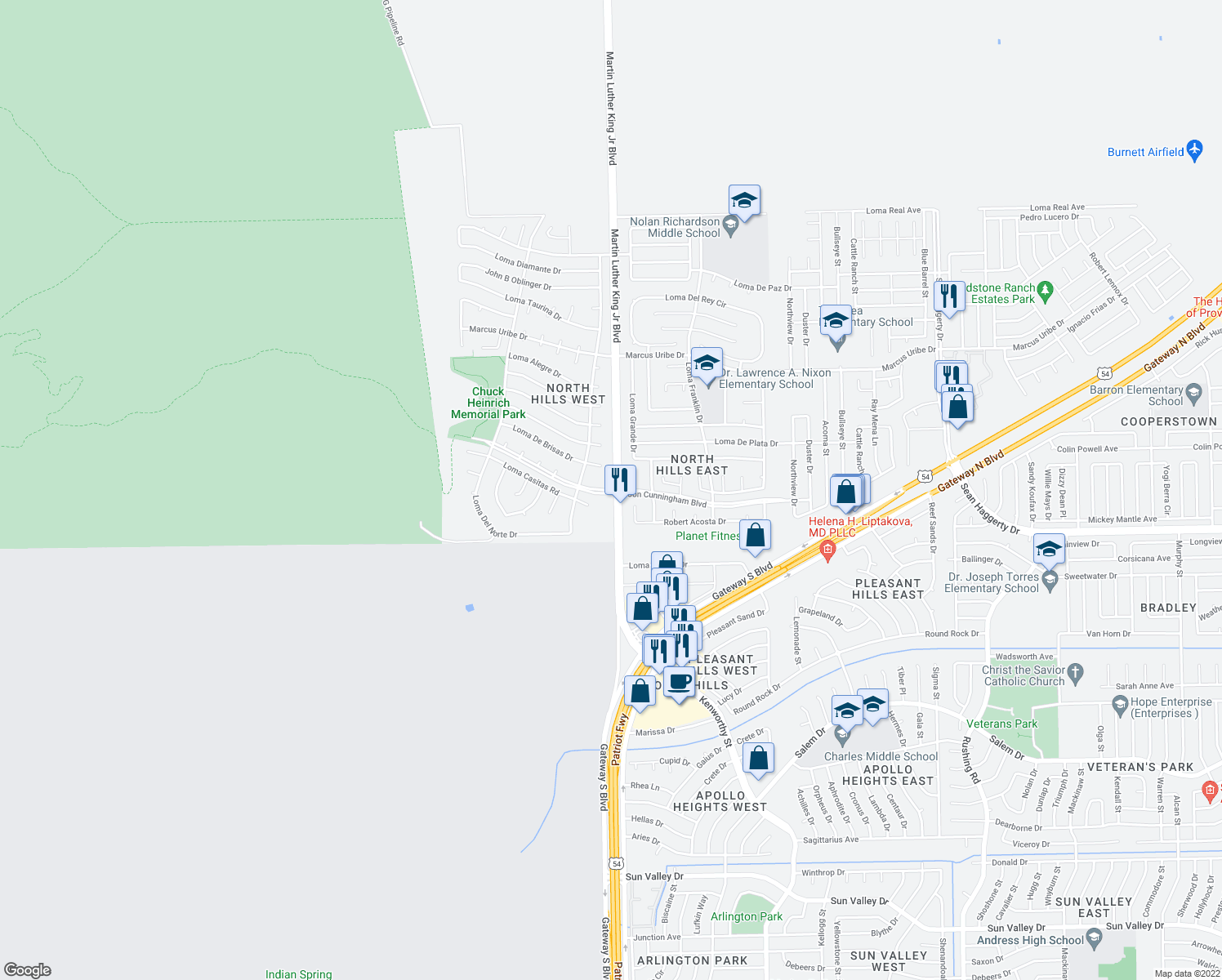 map of restaurants, bars, coffee shops, grocery stores, and more near Farm-To-Market Road 3255 in El Paso