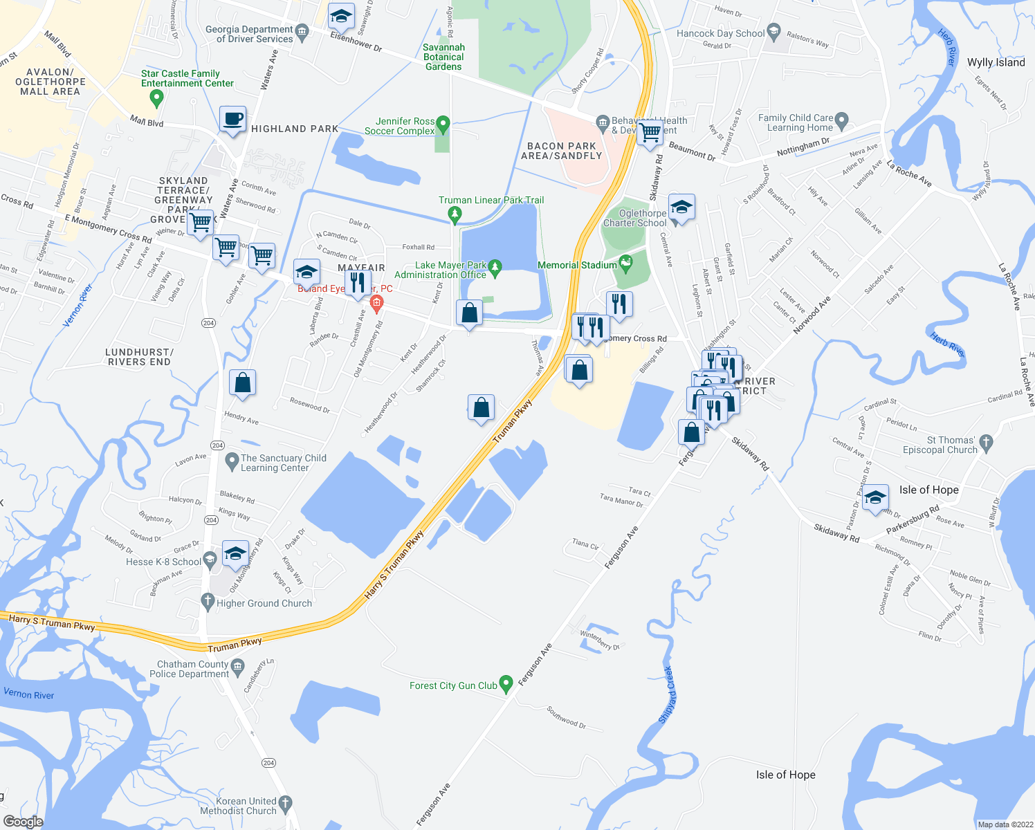 map of restaurants, bars, coffee shops, grocery stores, and more near in Savannah