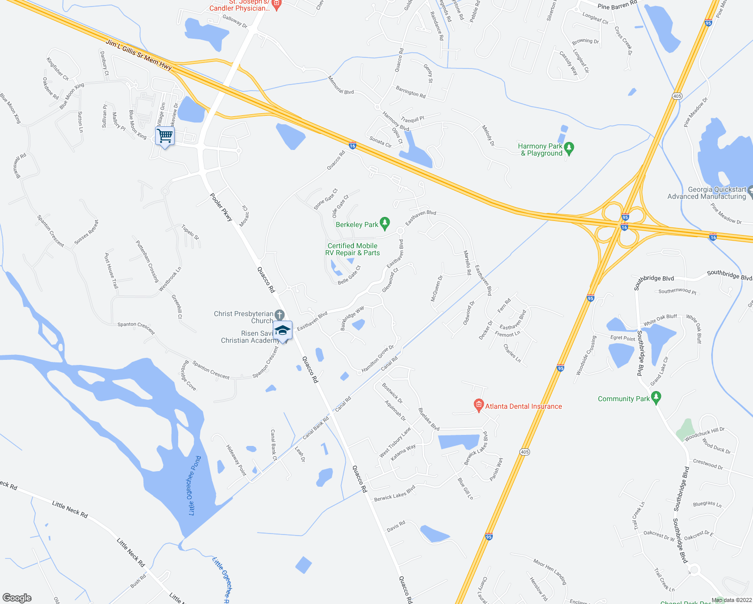 map of restaurants, bars, coffee shops, grocery stores, and more near 5 Bainbridge Way in Pooler