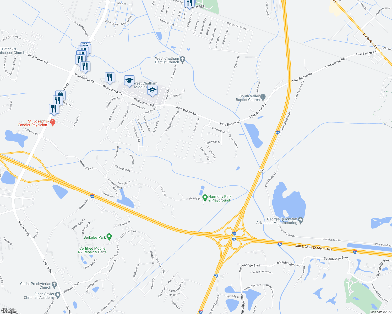 map of restaurants, bars, coffee shops, grocery stores, and more near 252 Longleaf Circle in Pooler