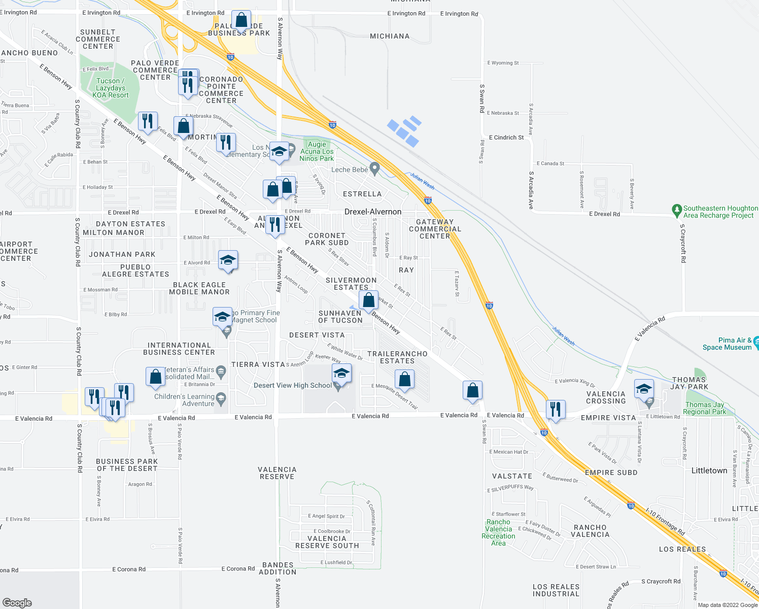 map of restaurants, bars, coffee shops, grocery stores, and more near 4265 E Benson Hwy in Tucson