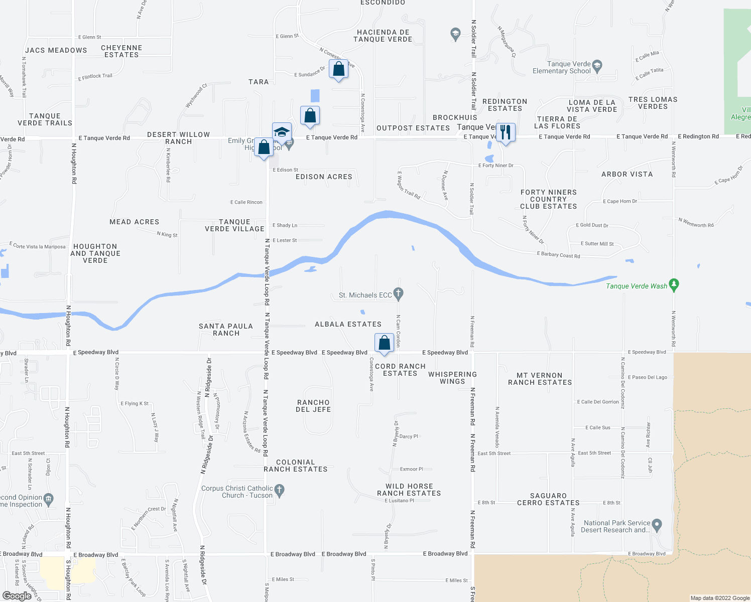 map of restaurants, bars, coffee shops, grocery stores, and more near E Speedway Rd & E Fairmount St in Tanque Verde