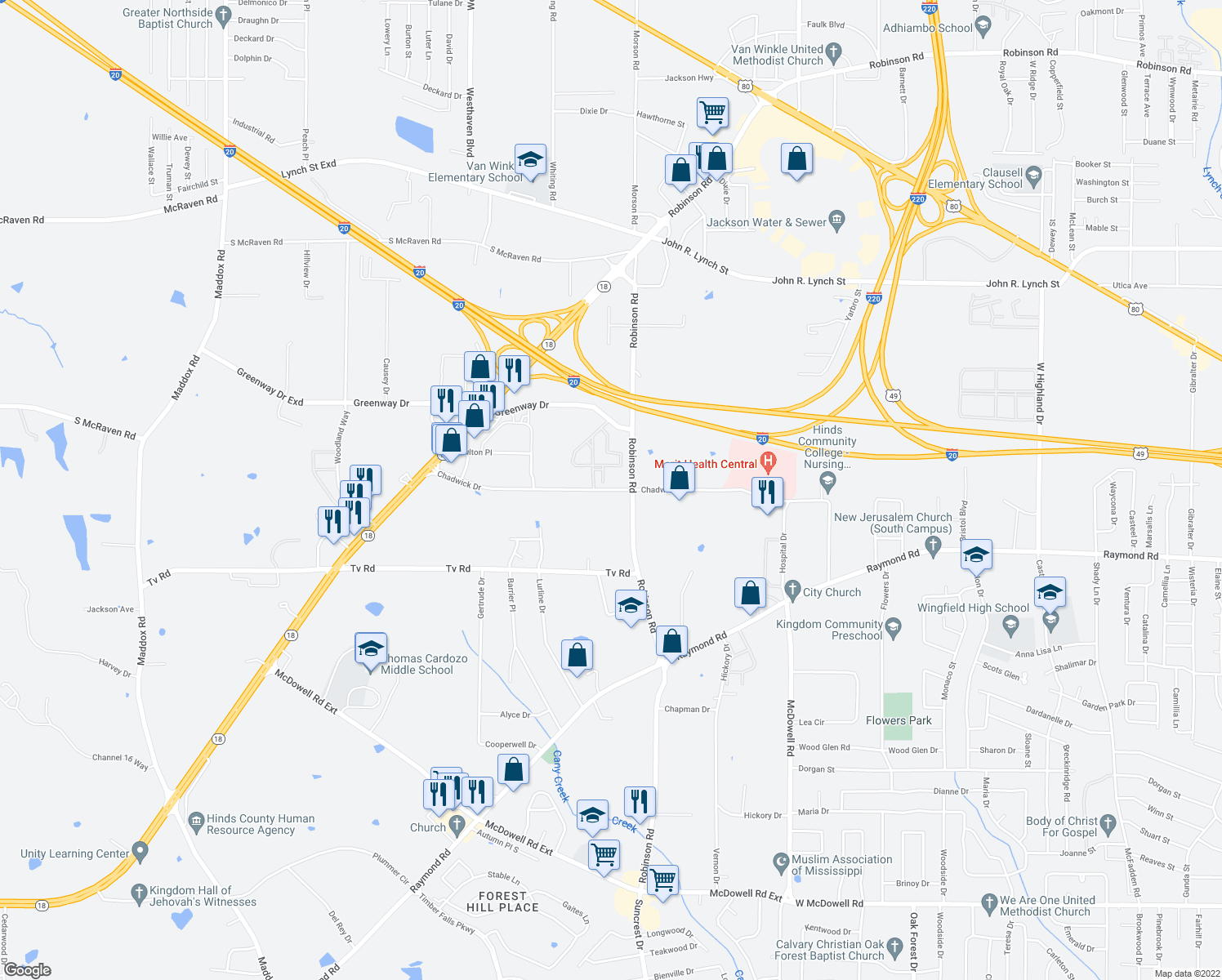 map of restaurants, bars, coffee shops, grocery stores, and more near 2010 Chadwick Drive in Jackson