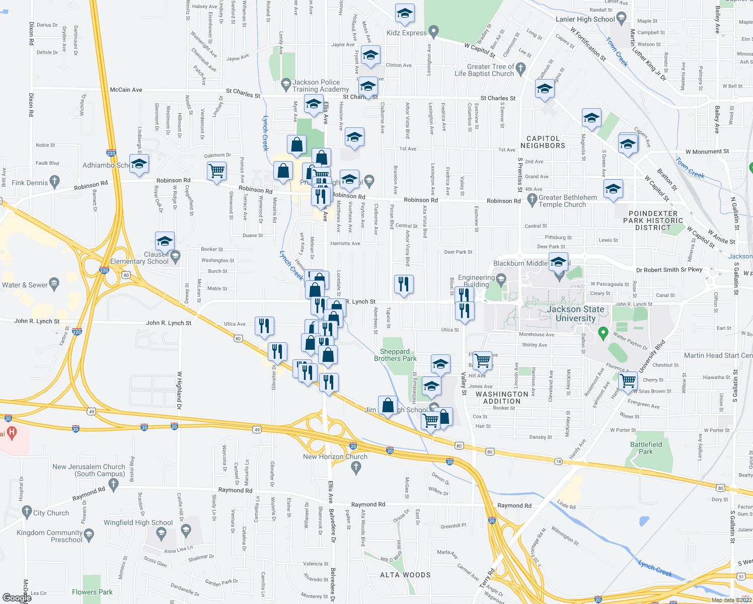 map of restaurants, bars, coffee shops, grocery stores, and more near John R. Lynch St & Aberdeen St in Jackson