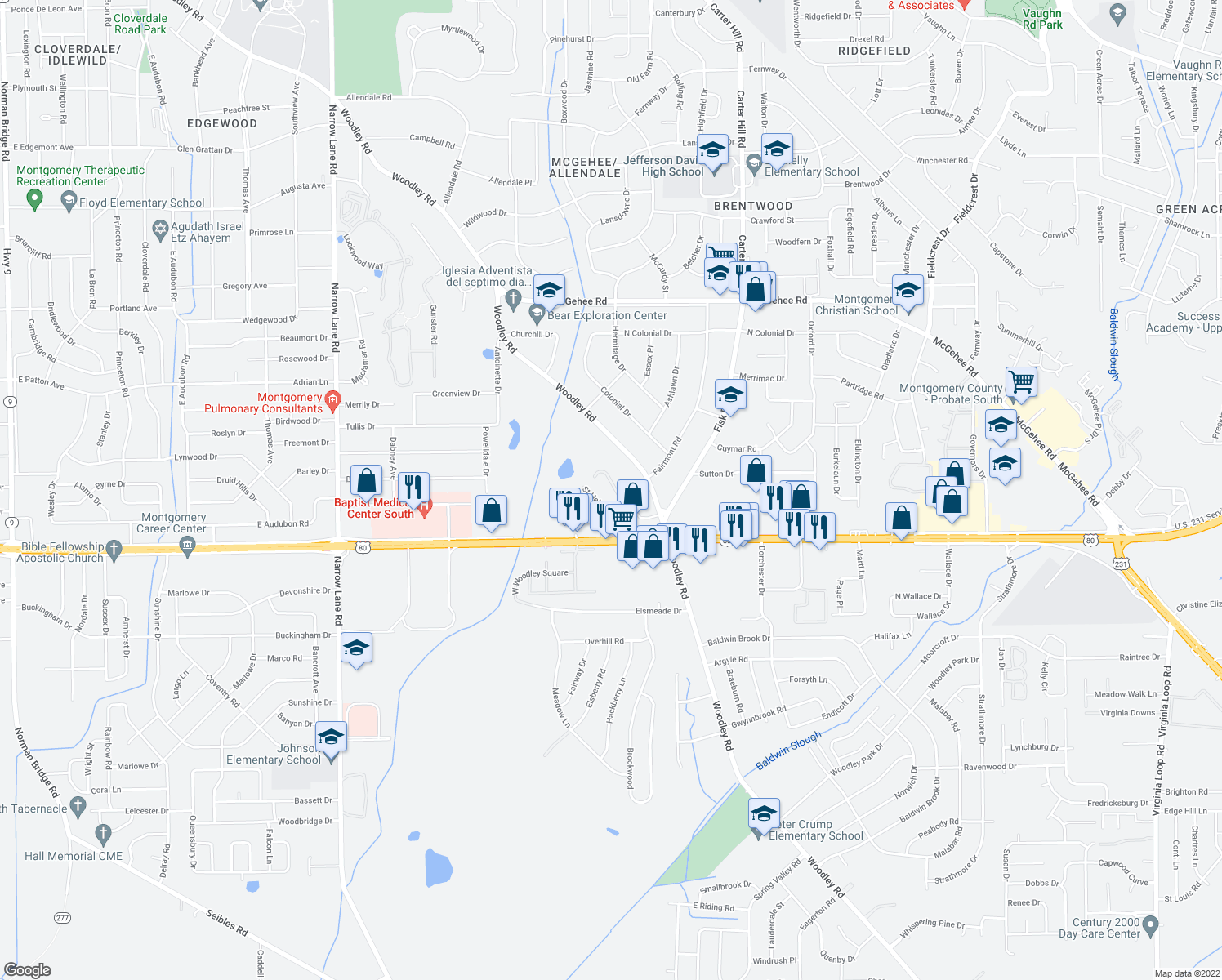 map of restaurants, bars, coffee shops, grocery stores, and more near 2259 Bonaparte Blvd in Montgomery