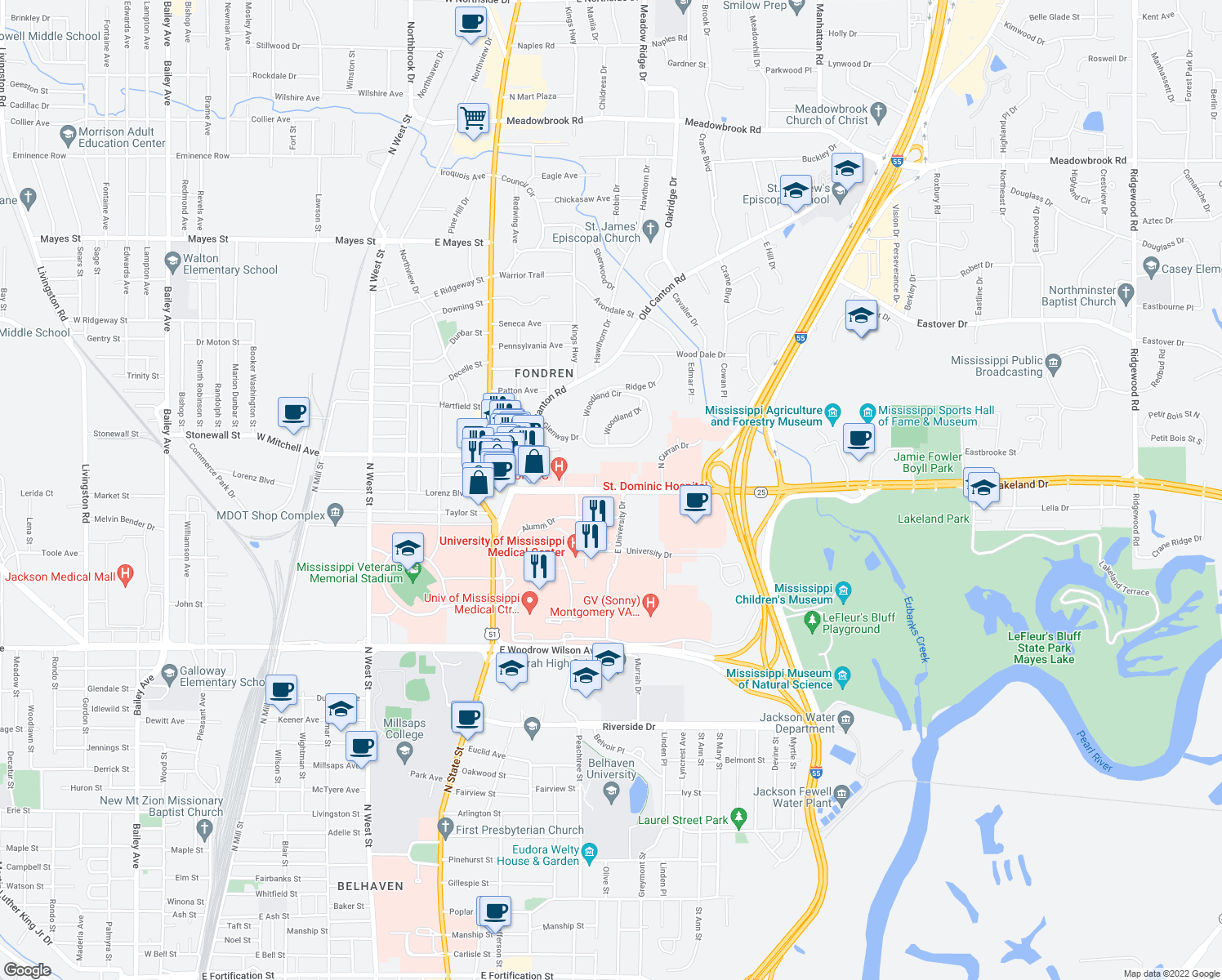 map of restaurants, bars, coffee shops, grocery stores, and more near 848-876 Lakeland Drive in Jackson