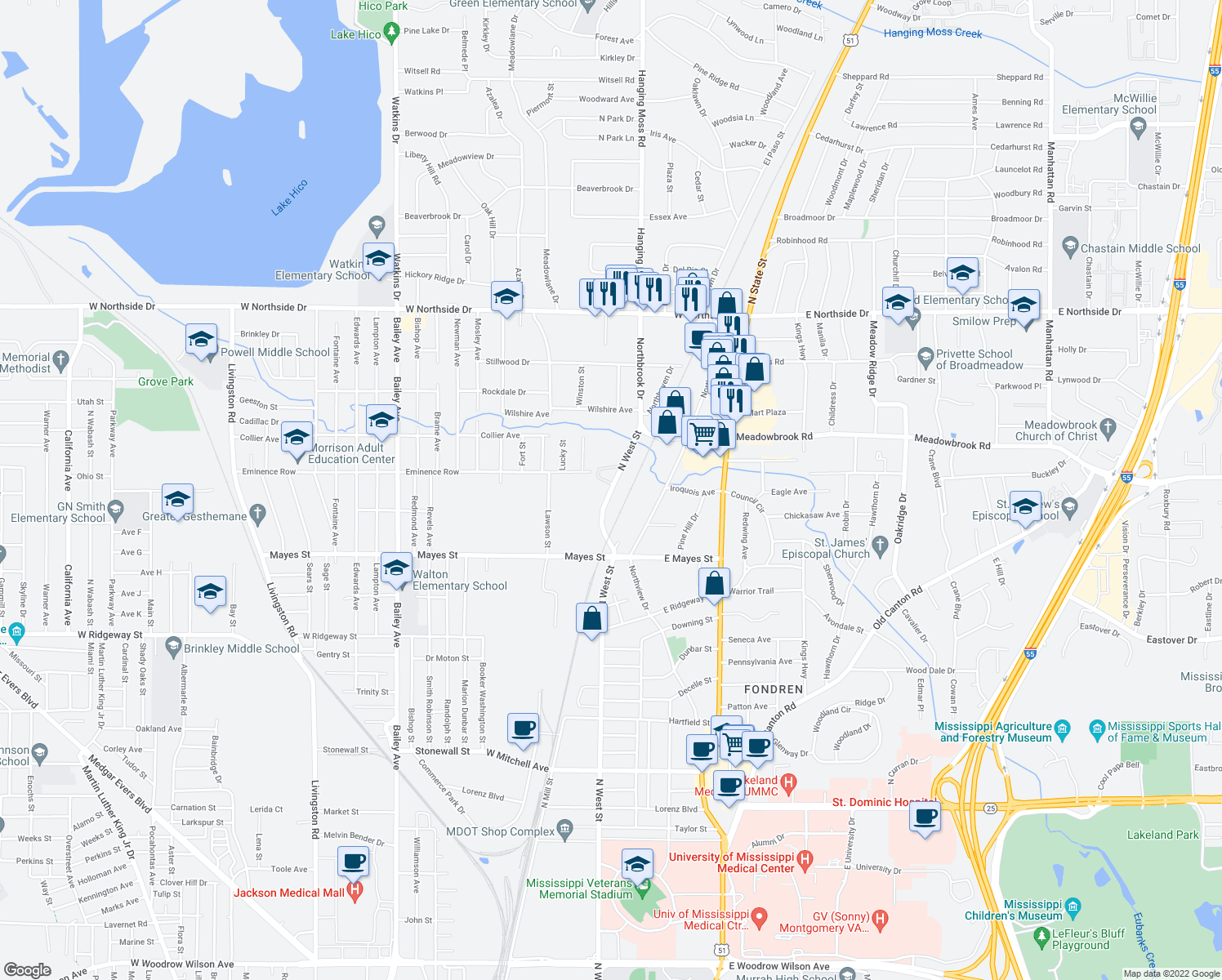 map of restaurants, bars, coffee shops, grocery stores, and more near 4000-4026 North West Street in Jackson