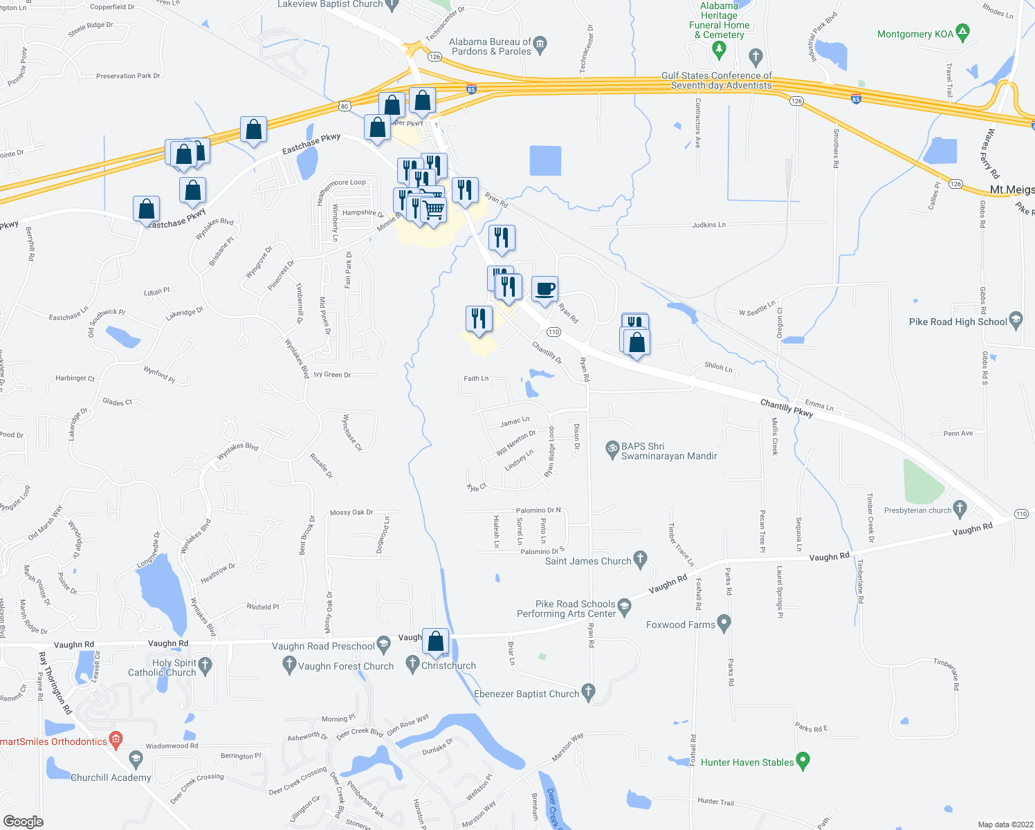 map of restaurants, bars, coffee shops, grocery stores, and more near 8809 Jamac Lane in Montgomery
