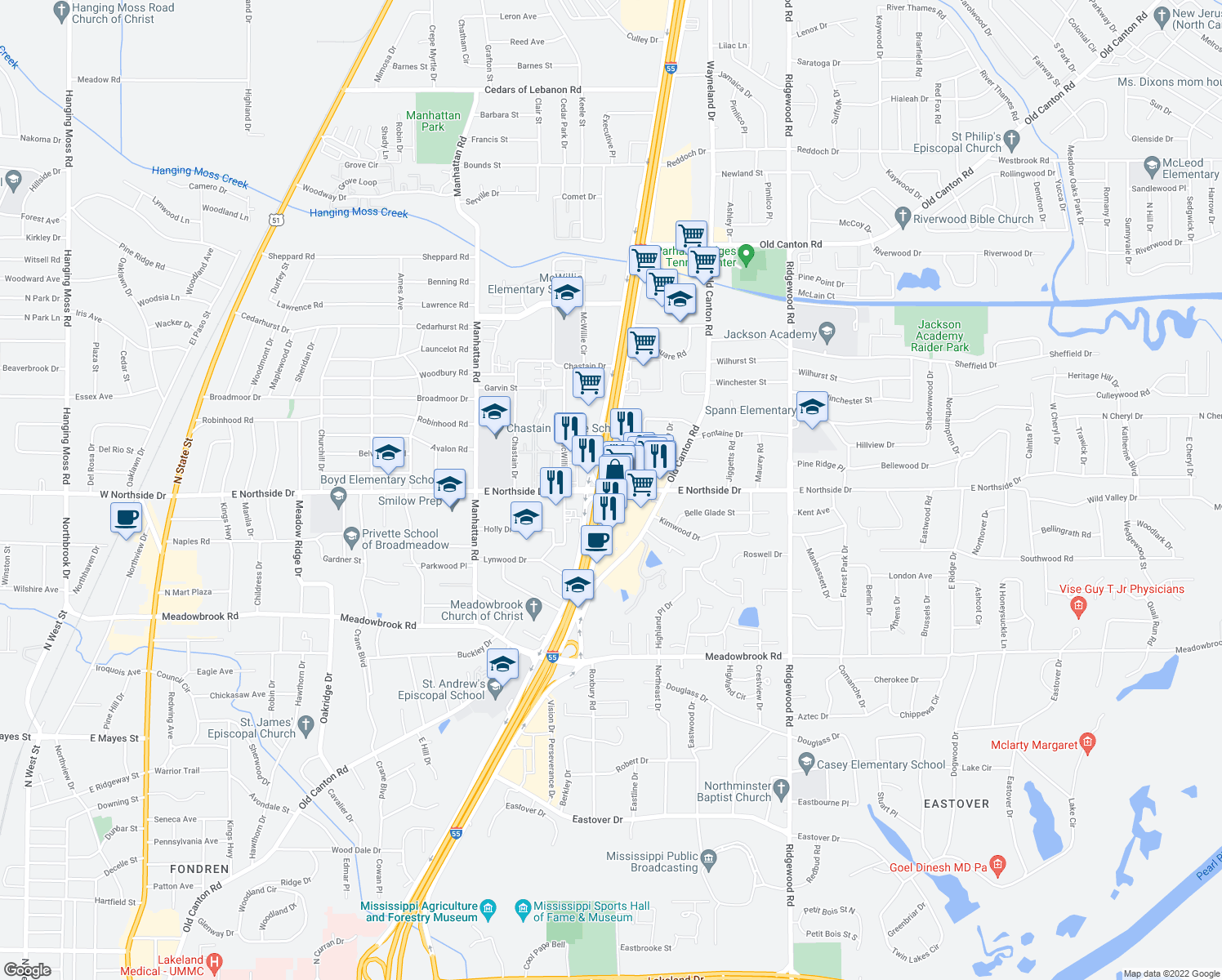 map of restaurants, bars, coffee shops, grocery stores, and more near Interstate 55 Frontage Rd & E Northside Dr in Jackson