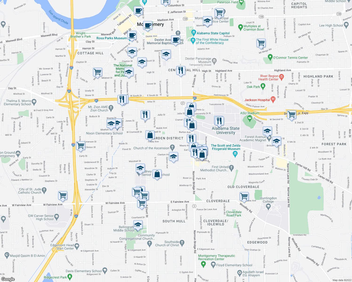 map of restaurants, bars, coffee shops, grocery stores, and more near S Hull St & Finley Ave in Montgomery