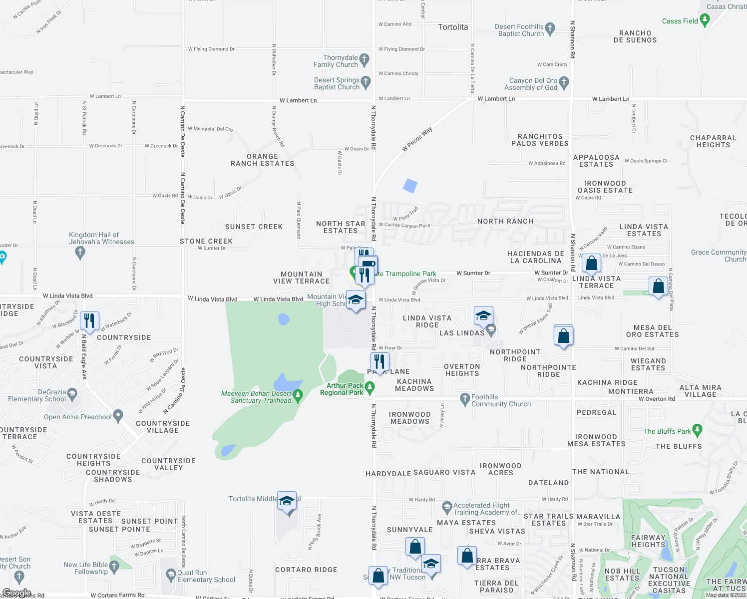 map of restaurants, bars, coffee shops, grocery stores, and more near N Thornydale Rd & W Linda Vista Blvd in Tortolita
