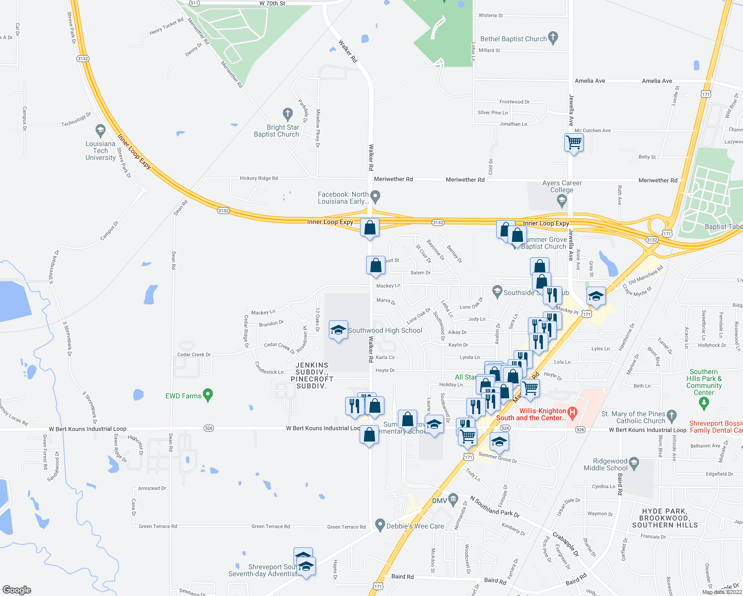 map of restaurants, bars, coffee shops, grocery stores, and more near 8979 Walker Road in Shreveport