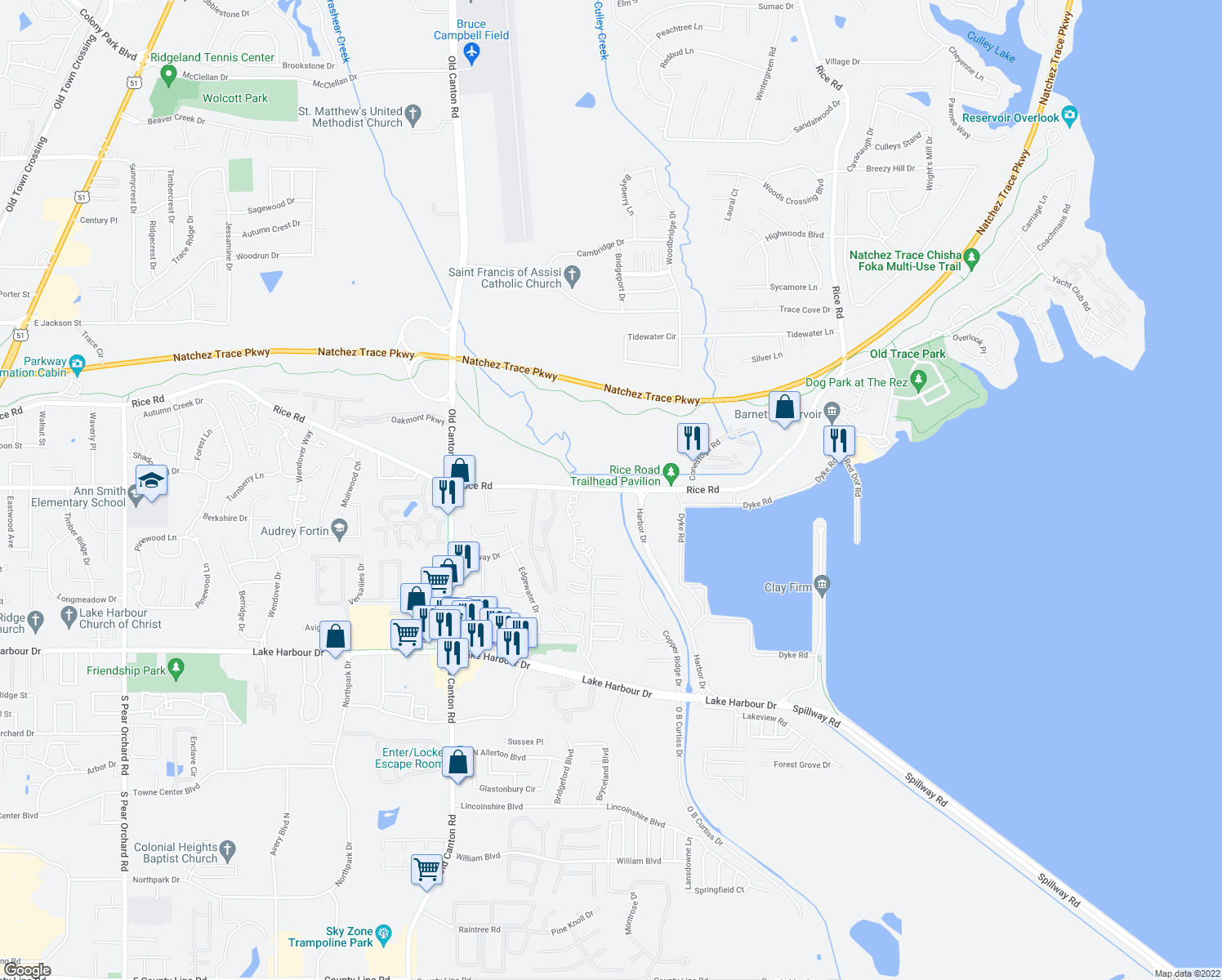 map of restaurants, bars, coffee shops, grocery stores, and more near 831 Rice Rd in Ridgeland