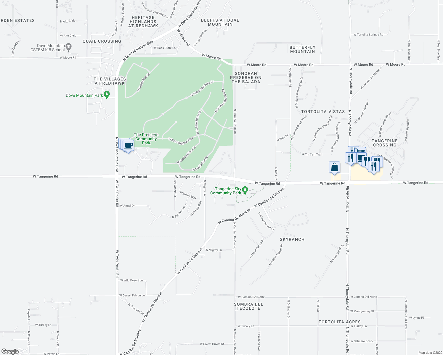 map of restaurants, bars, coffee shops, grocery stores, and more near 4688 West Tangerine Road in Marana