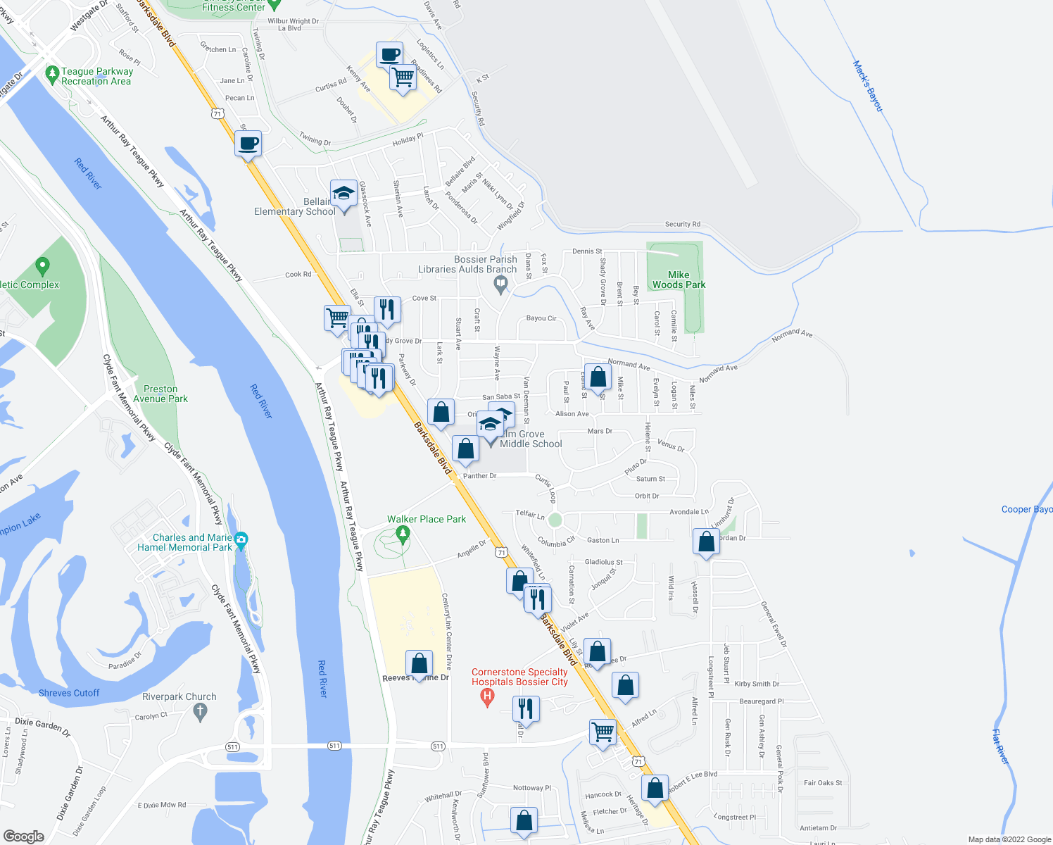 map of restaurants, bars, coffee shops, grocery stores, and more near 4230 Van Deeman Street in Bossier City