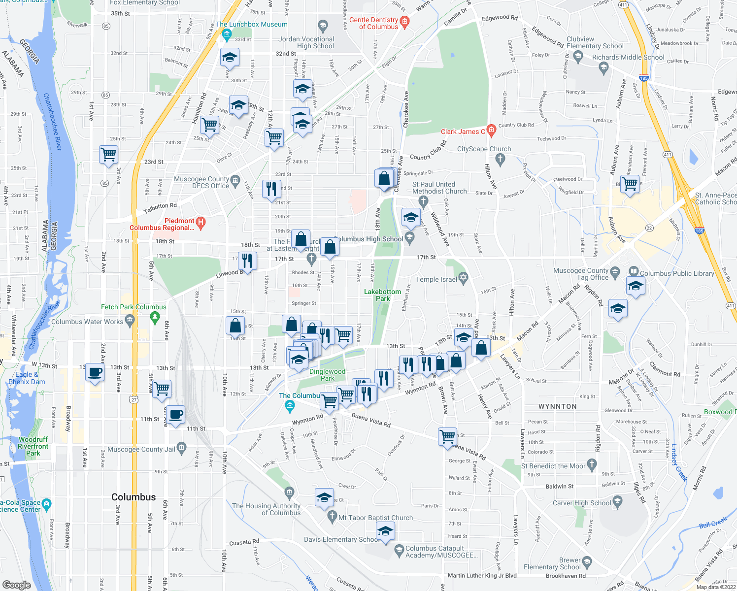 map of restaurants, bars, coffee shops, grocery stores, and more near 1541 18th Avenue in Columbus