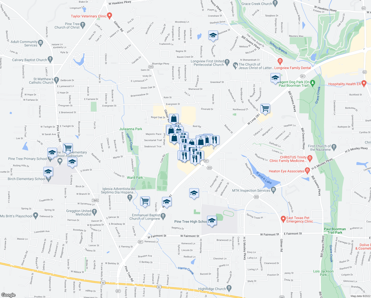 map of restaurants, bars, coffee shops, grocery stores, and more near 2005 Toler Road in Longview