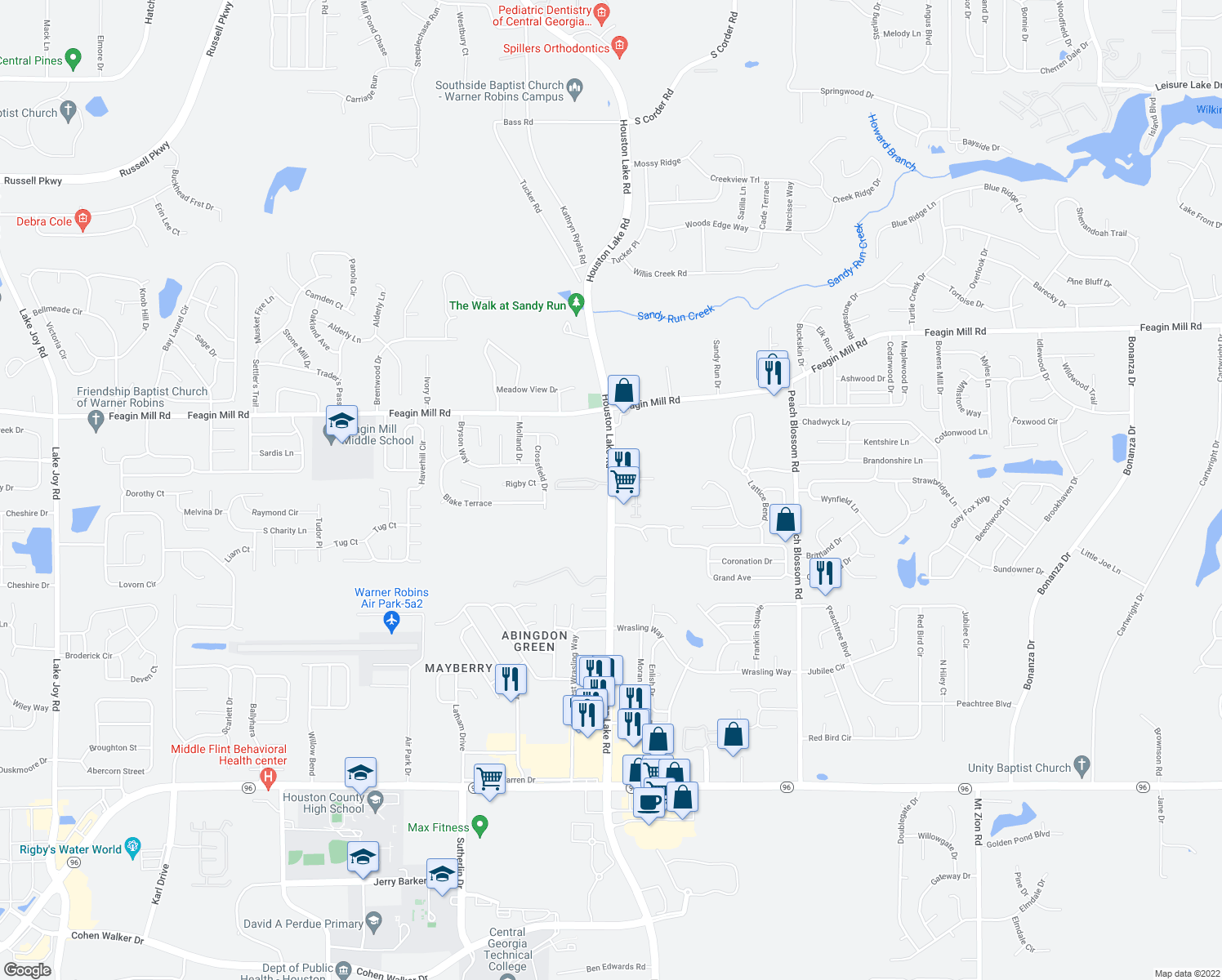 map of restaurants, bars, coffee shops, grocery stores, and more near 1219 South Houston Lake Road in Warner Robins