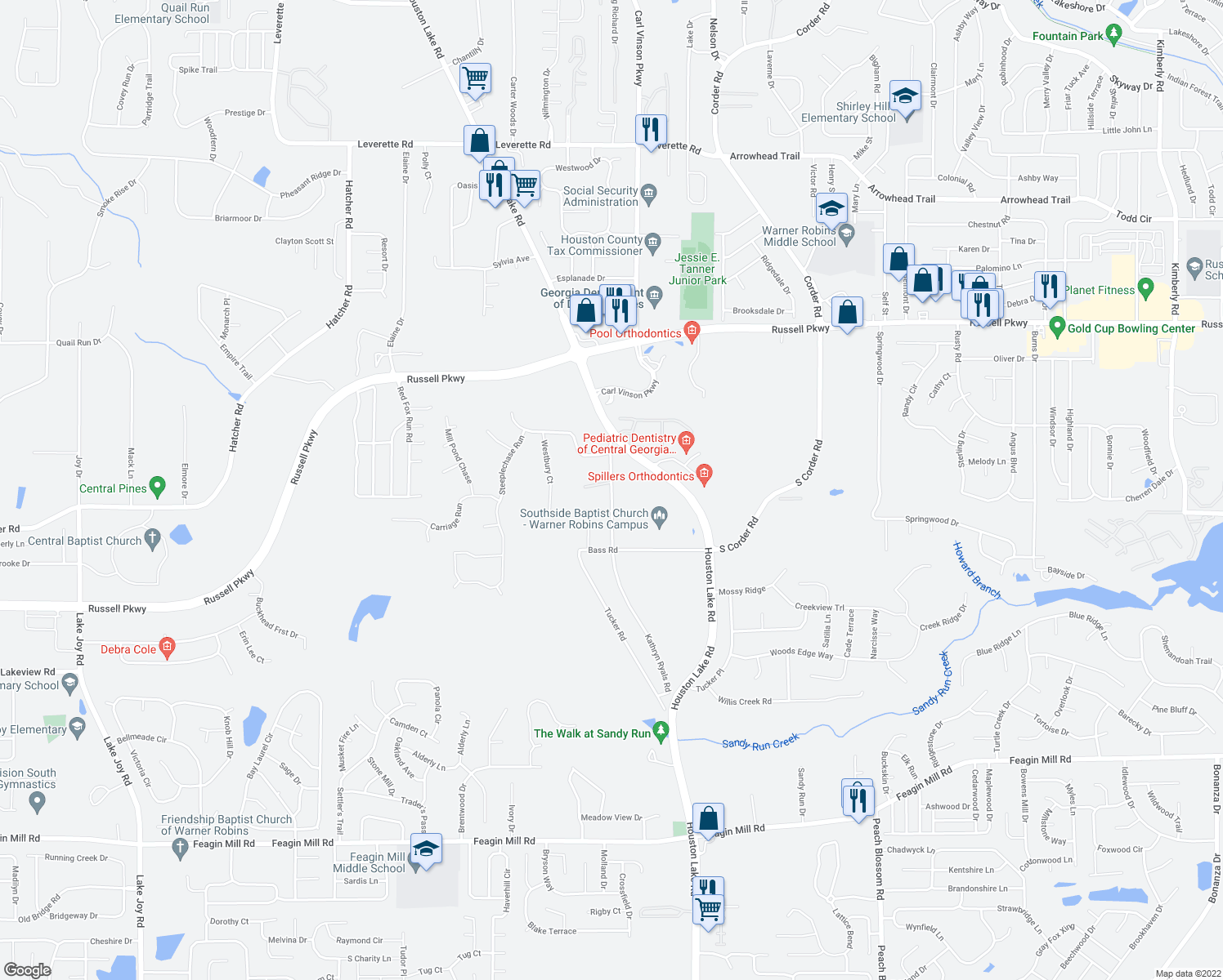map of restaurants, bars, coffee shops, grocery stores, and more near 1011 Kathryn Ryals Road in Warner Robins