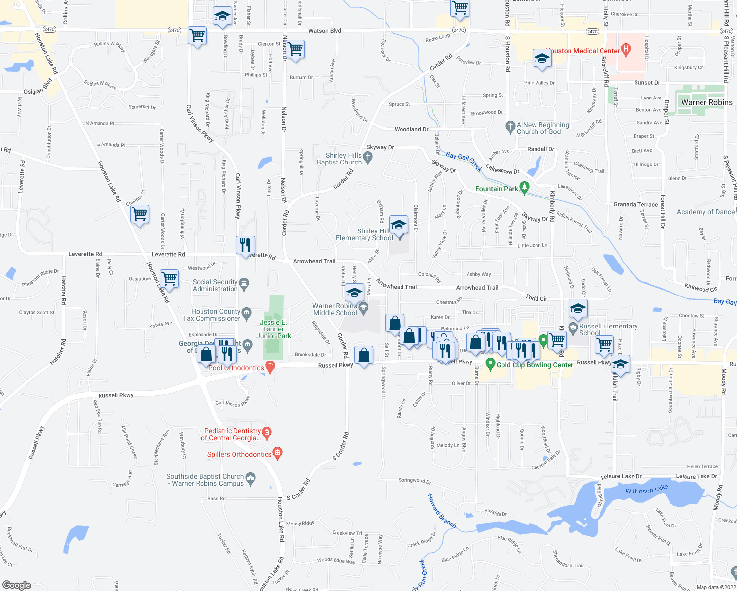 map of restaurants, bars, coffee shops, grocery stores, and more near 404 Mary Lane in Warner Robins