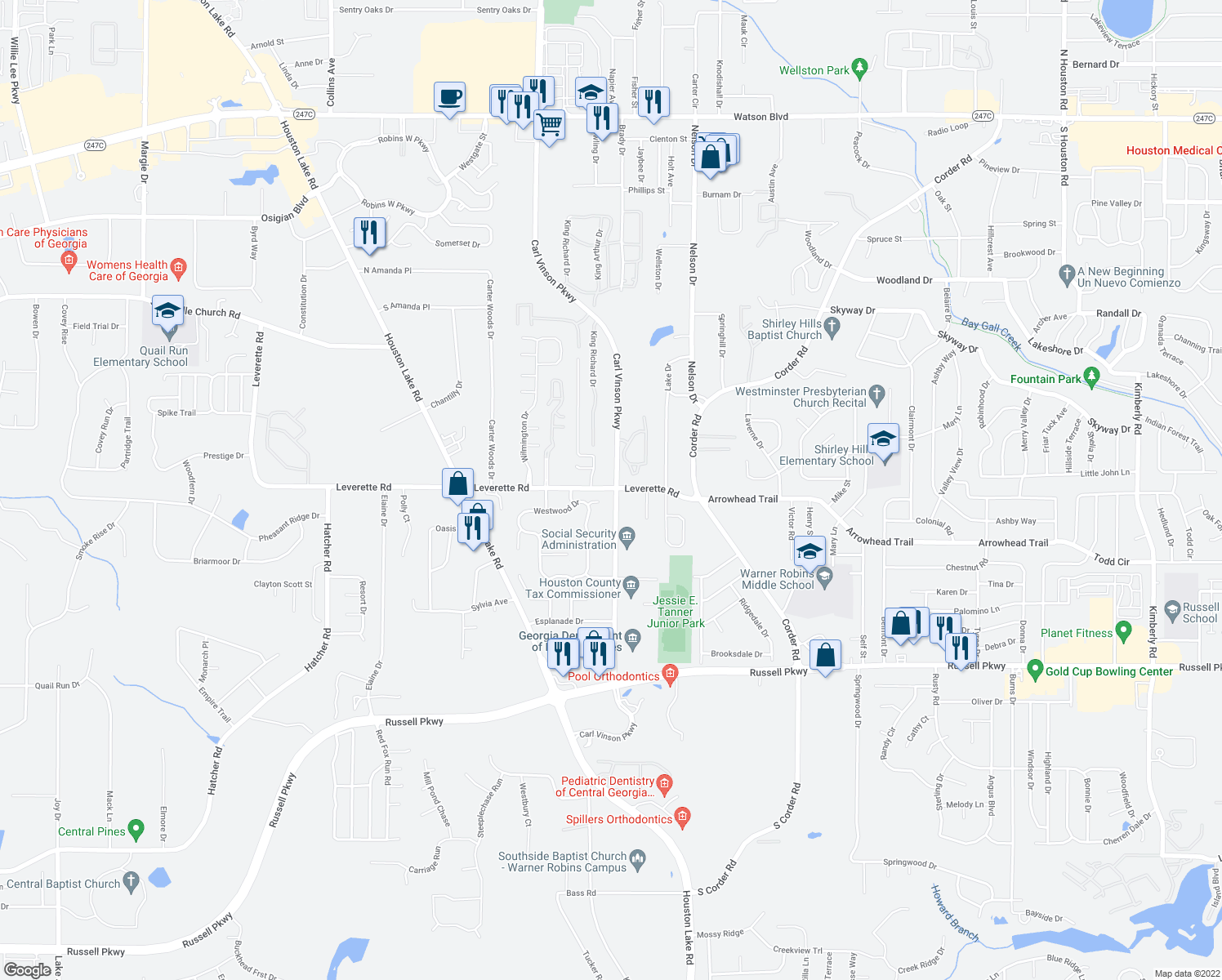 map of restaurants, bars, coffee shops, grocery stores, and more near 269 Carl Vinson Parkway in Warner Robins