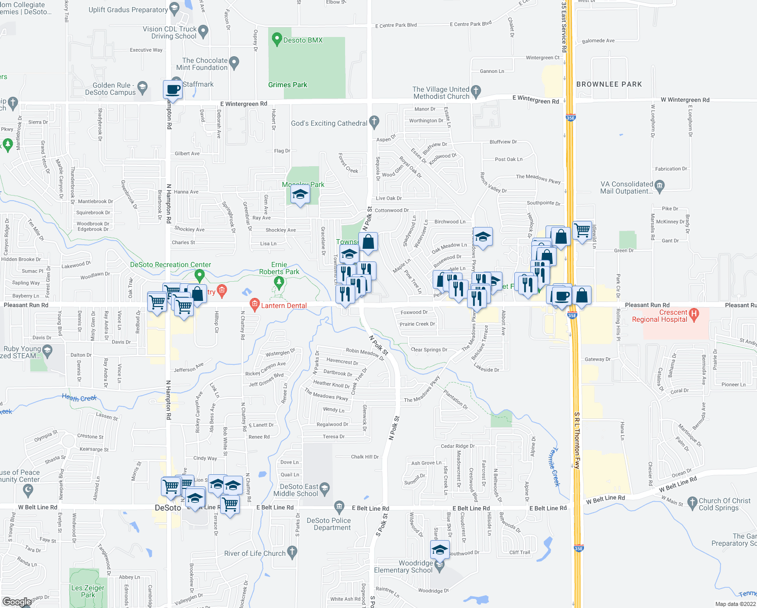 map of restaurants, bars, coffee shops, grocery stores, and more near 800 E Pleasant Run Rd in DeSoto