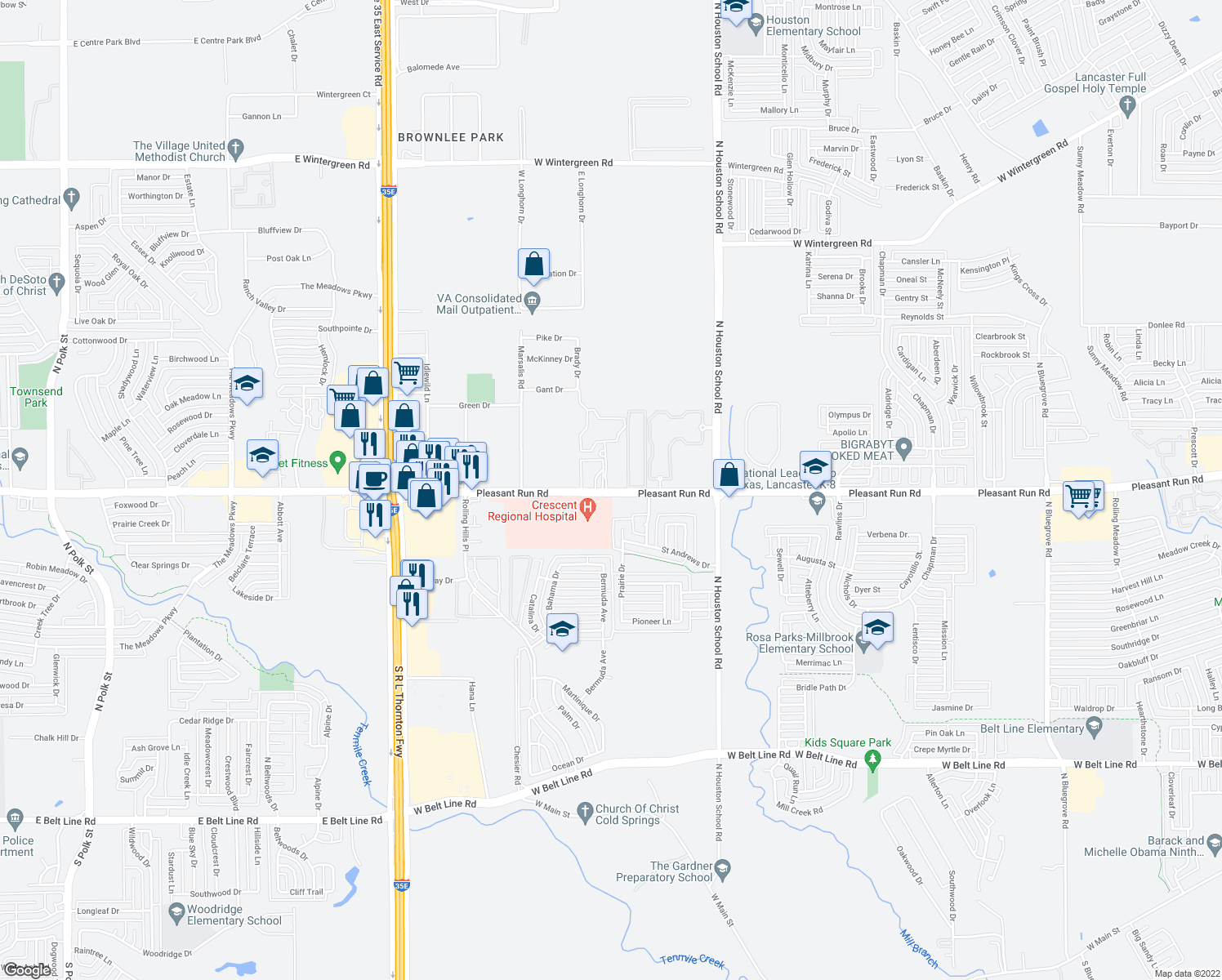 map of restaurants, bars, coffee shops, grocery stores, and more near 2424 West Pleasant Run Road in Lancaster