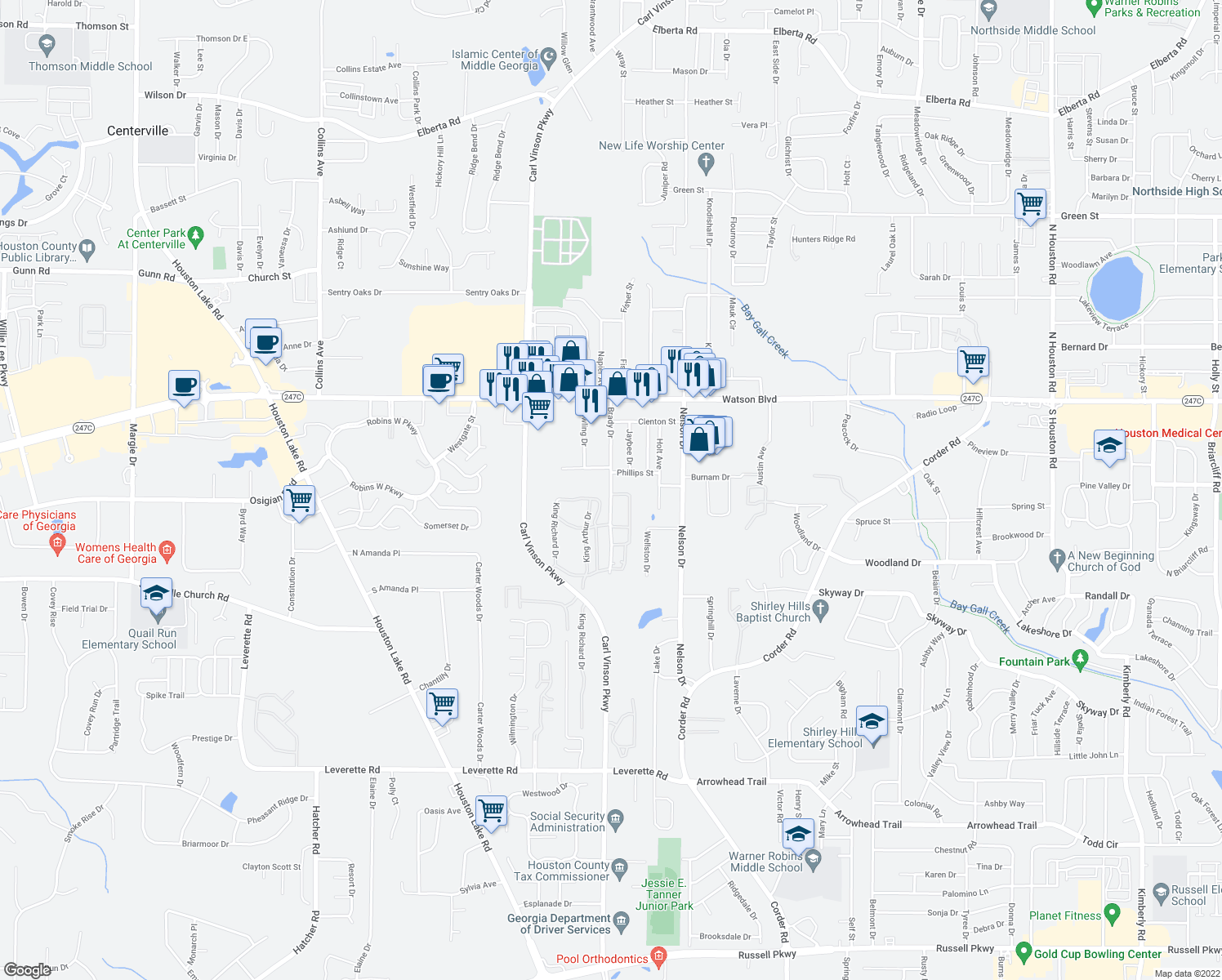 map of restaurants, bars, coffee shops, grocery stores, and more near 305 Brady Drive in Warner Robins