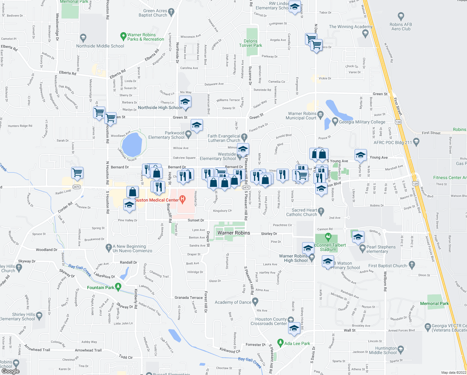 map of restaurants, bars, coffee shops, grocery stores, and more near 1405 Watson Boulevard in Warner Robins