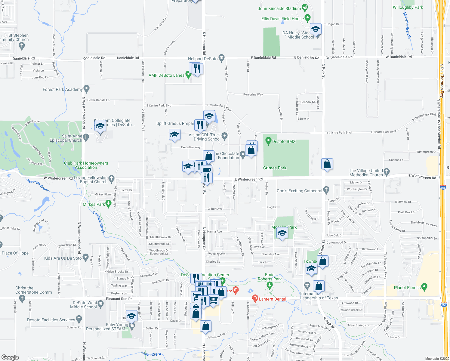 map of restaurants, bars, coffee shops, grocery stores, and more near 1501-1699 Kestrel Avenue in DeSoto