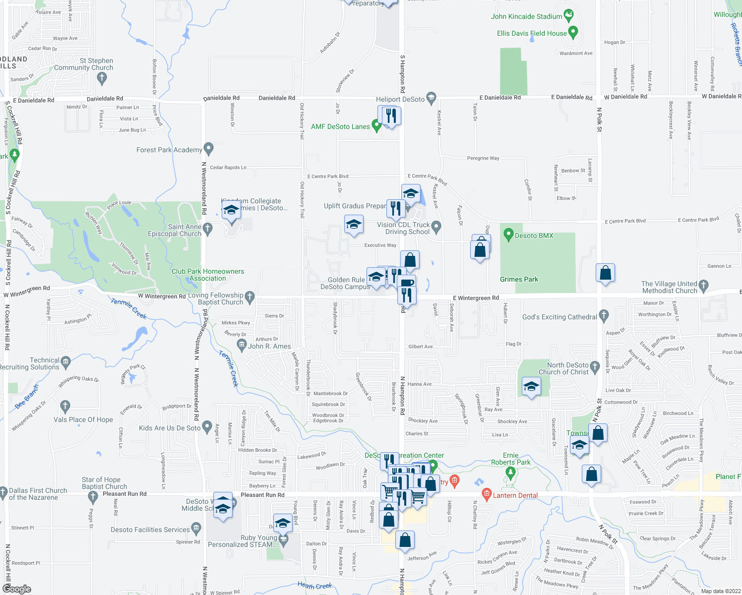 map of restaurants, bars, coffee shops, grocery stores, and more near 320 W Wintergreen Rd in DeSoto