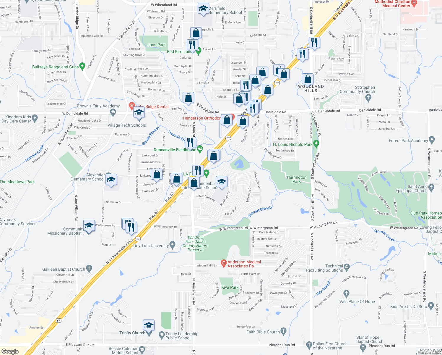 map of restaurants, bars, coffee shops, grocery stores, and more near 1827 Whitecliff Dr in Duncanville