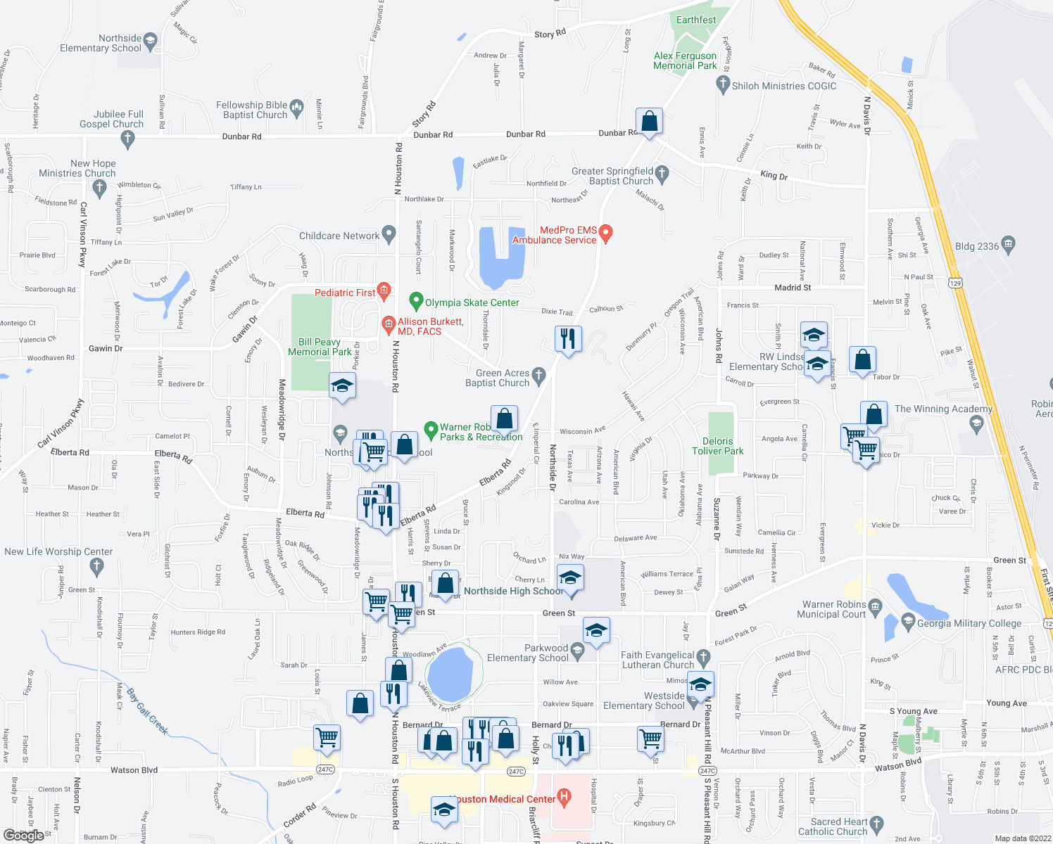 map of restaurants, bars, coffee shops, grocery stores, and more near 1001-1005 Elberta Road in Warner Robins