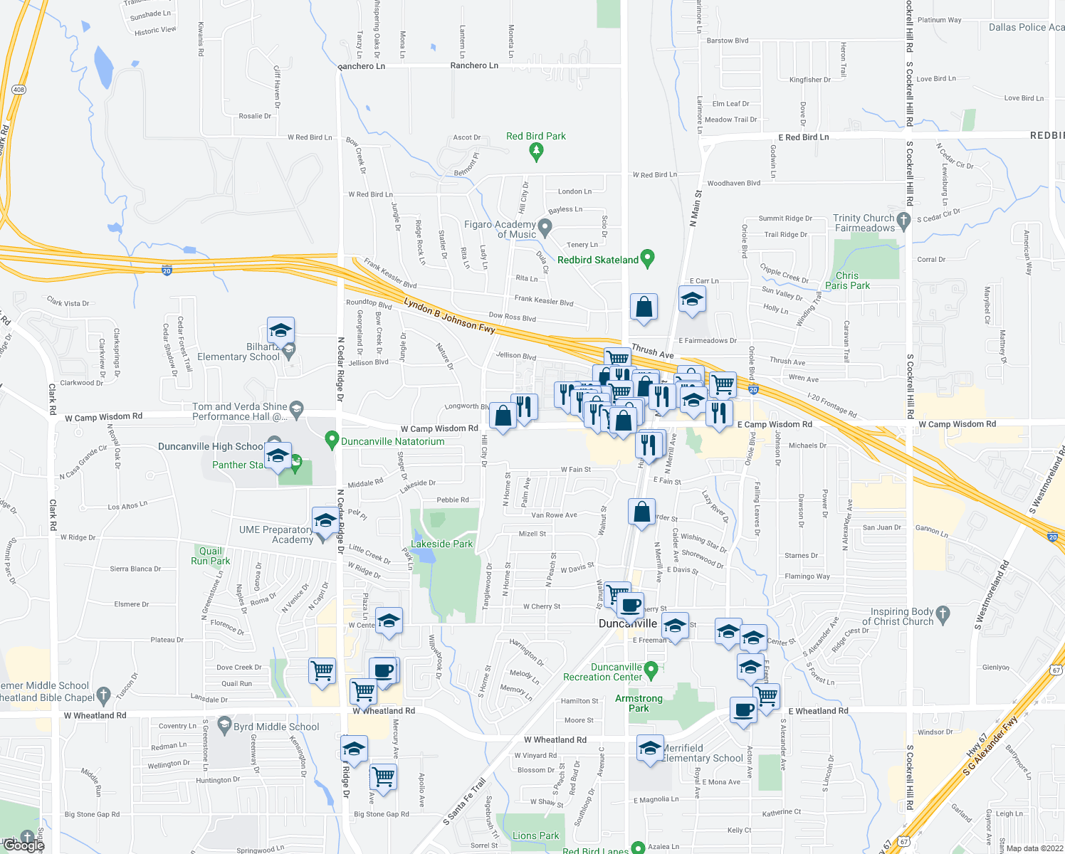 map of restaurants, bars, coffee shops, grocery stores, and more near W Camp Wisdom Rd & Link Dr in Duncanville