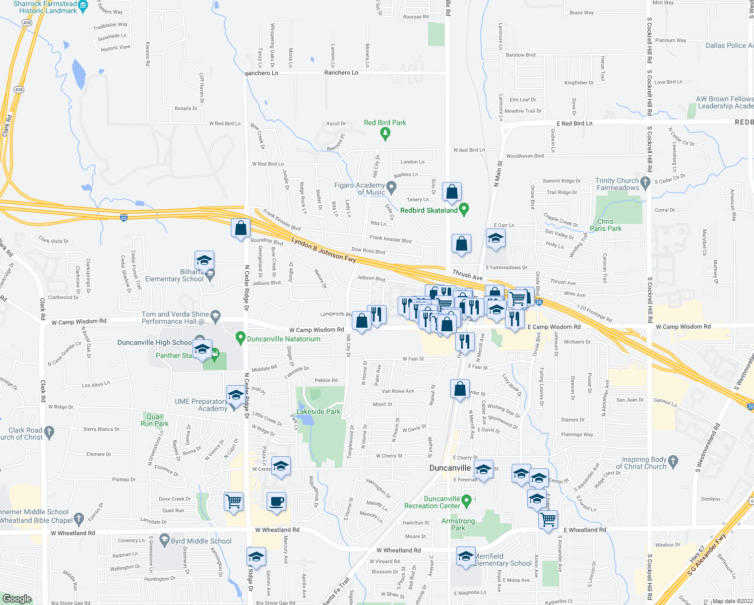 map of restaurants, bars, coffee shops, grocery stores, and more near 812-818 Del Lenora Dr in Duncanville
