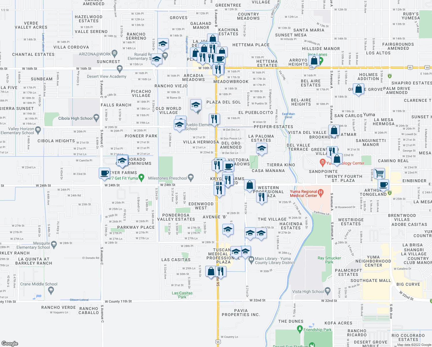 map of restaurants, bars, coffee shops, grocery stores, and more near 2350 South Avenue B in Yuma