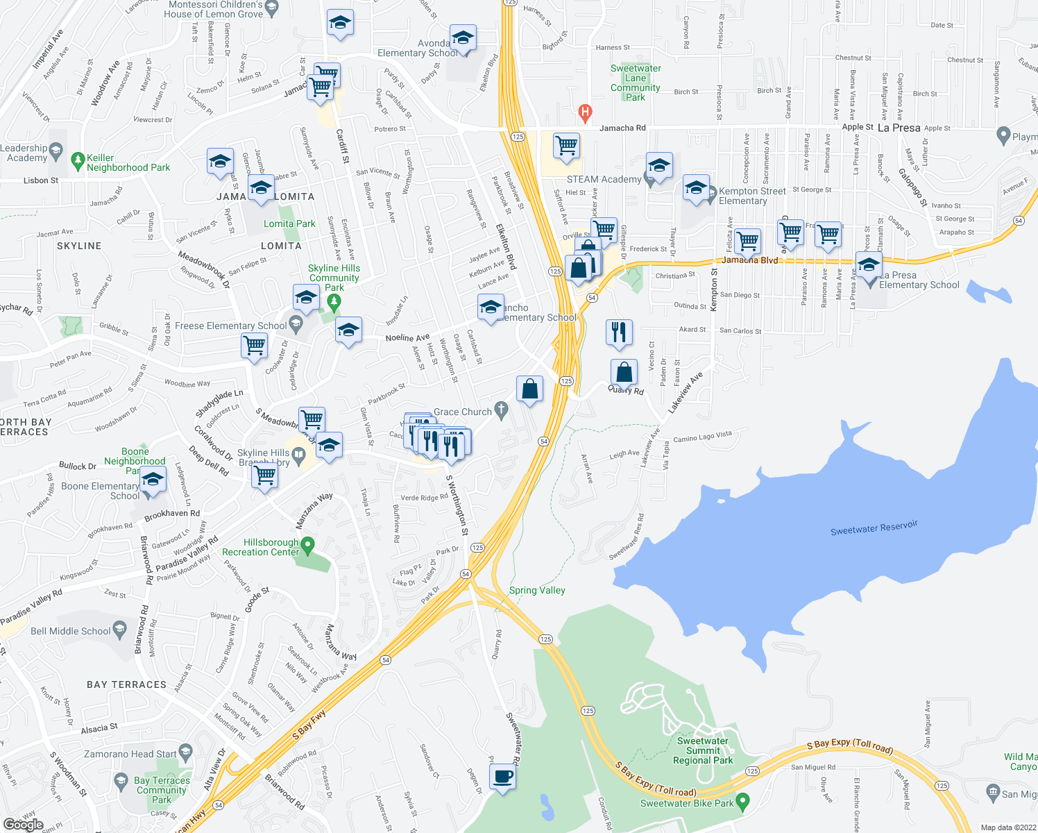 map of restaurants, bars, coffee shops, grocery stores, and more near 8517 Paradise Valley Road in Spring Valley
