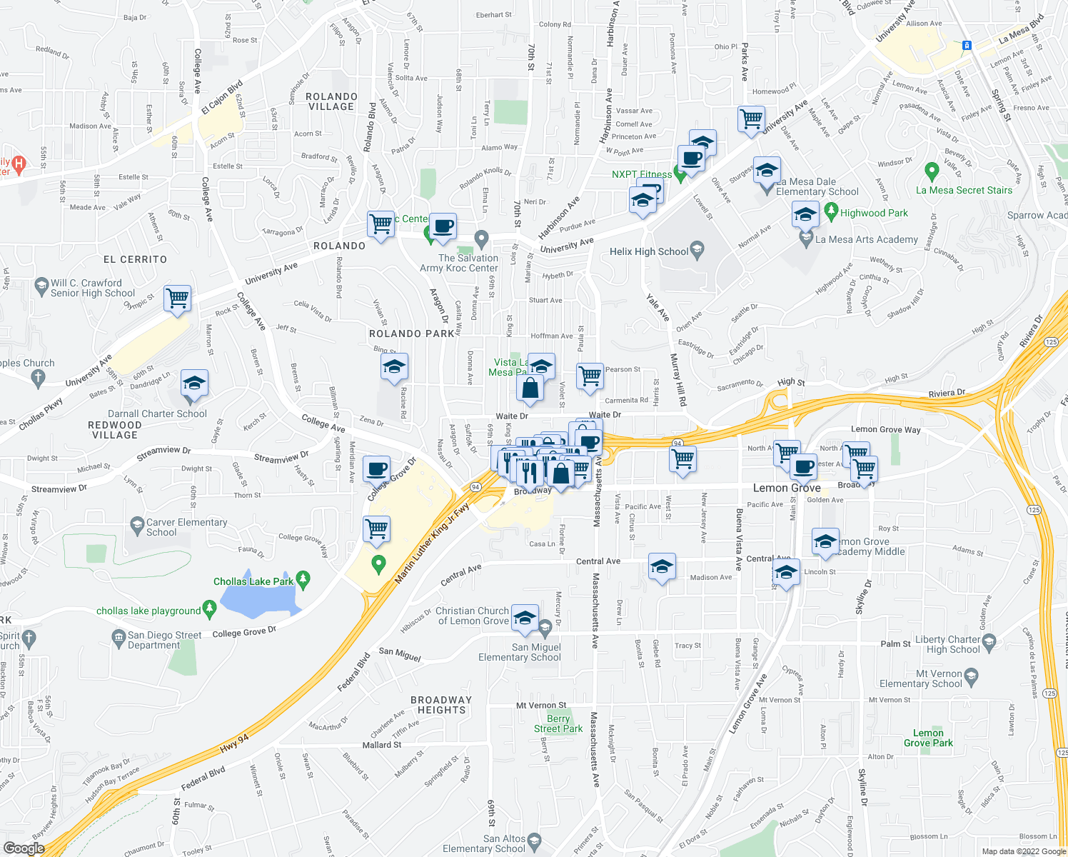 map of restaurants, bars, coffee shops, grocery stores, and more near Martin Luther King Jr Fwy in La Mesa