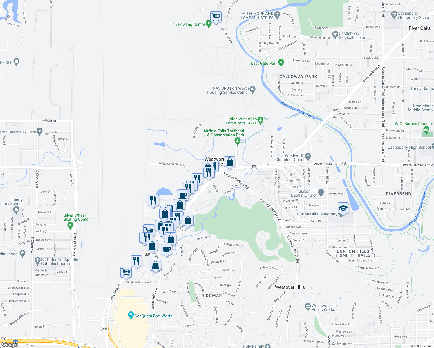 map of restaurants, bars, coffee shops, grocery stores, and more near 183 Alta Mere Dr in Westworth Village