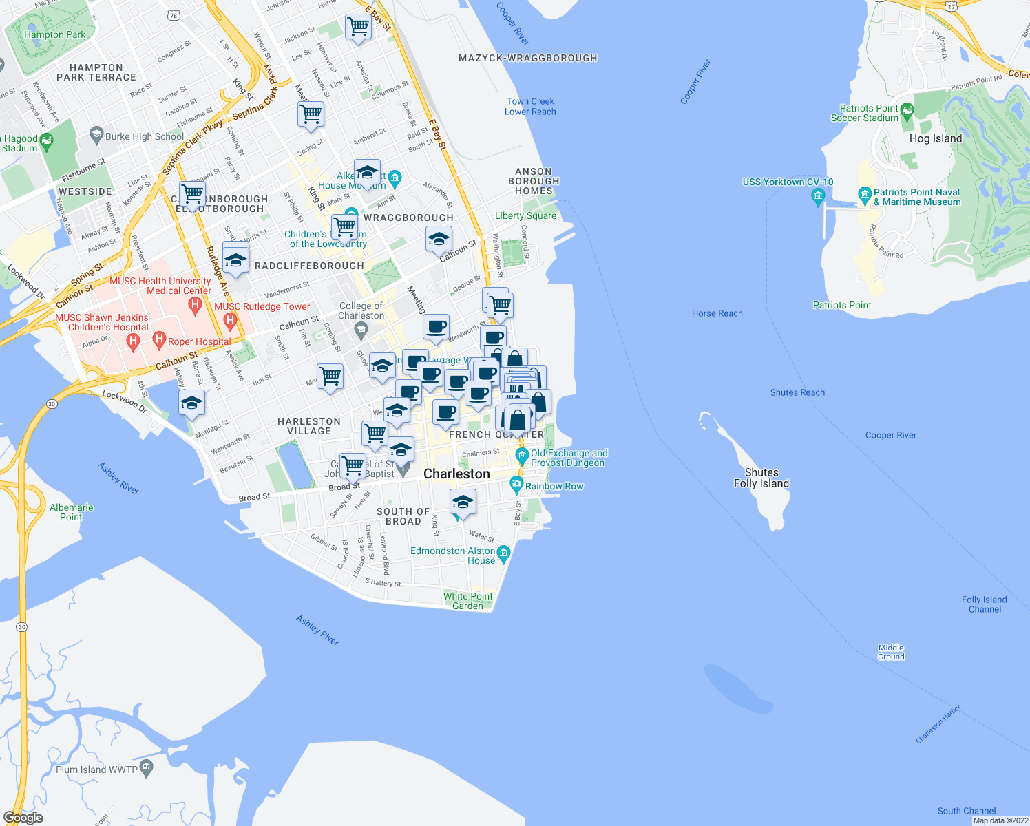 map of restaurants, bars, coffee shops, grocery stores, and more near 195 East Bay Street in Charleston
